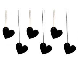 Sydän Tagit Musta 6 kpl