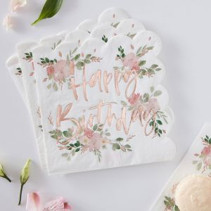 Lautasliinat Happy Birthday, Ditsy Floral