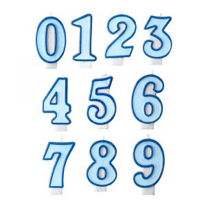 Numerokakkukynttilä sininen, 0-9