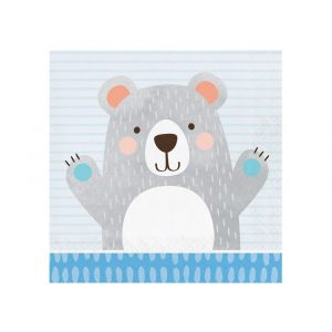 Suloiset karhu-servetit, 16kpl. Birthday Bear.
