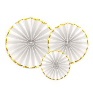 Paperiviuhkat Valko-kulta 3 kpl