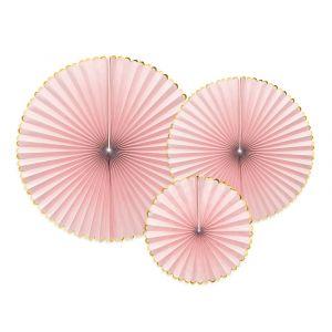 Paperiviuhkat Vaaleanpunaiset 3 kpl - Candy Pastel